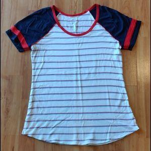 EUC Red white and blue baseball t-shirt